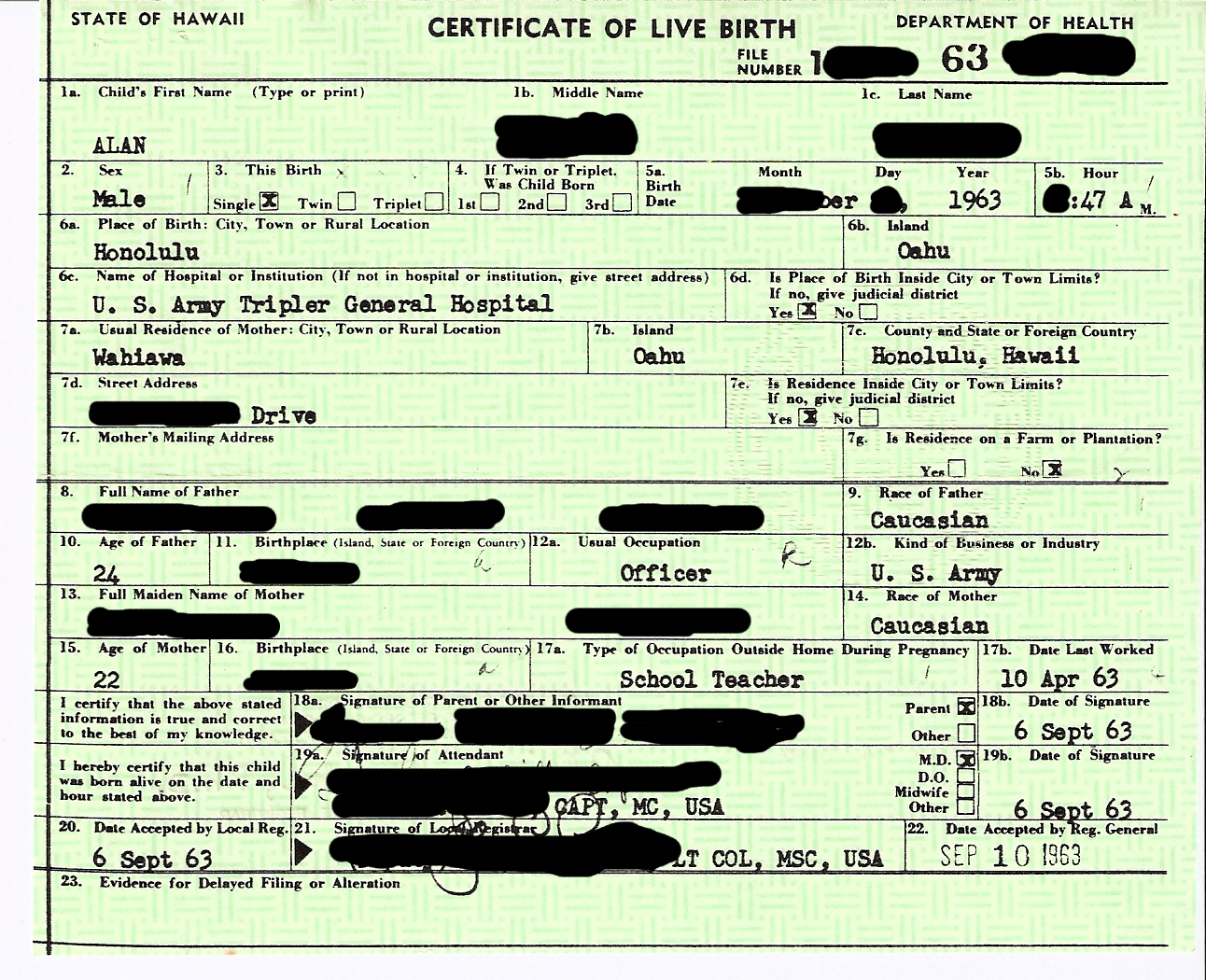 Birth certificate obama conspiracy theories 1963 alan birth certificate image from hawaii aiddatafo Gallery